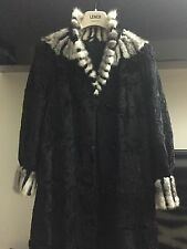 Super Black persian lambskin lamb fur coat White MINK fur collar astrakhan S