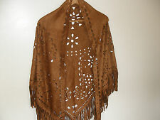 E314 Copper Brown Suede Look Hippy Boho Tassels Ladies Scarf Shawl Pashmina