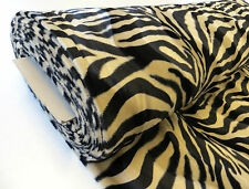 by METRE Beige Brown Tan ZEBRA animal print short pile luxury VELBOA faux fur