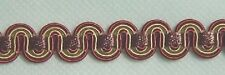 Scroll Gimp 3/8 inch wide by 3 yard Brown  Gold Fuchsia  (NG330A-0252)