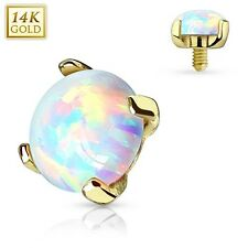 NUOVO 14CT GOLD ARCOBALENO Opal STONE 3mm Dermal anchor HEAD superficie Piercing 14g