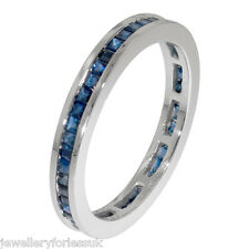 18Carat White Gold Princess Cut Natural Blue Sapphire Full Eternity Ring 1.00ct
