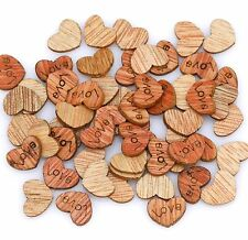 200Pcs Love Heart Carve Wood Flatback Appointment Wedding Decorations 12mm