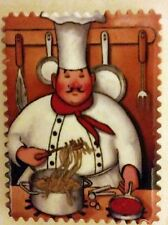 "1 RARE Fat Chef Magnet (2.5"" x 3""), Chef with noodles. FREE SHIPPING from USA"