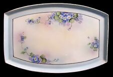Exquisite Nippon Noritake Morimura Hand Paint Vanity Tray Gold Blue Lilac Japan