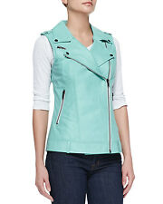 $300 Bagatelle Designer Genuine Leather Vest Moto Aqua Caribbean Blue NWT Sz M