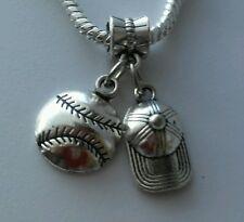 Baseball Hat Softball Sports Ball Dangle Bead For European Charm Bracelet