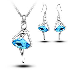 Xmas Swarovski Elements Jewelry Set White Gold Plated Girl Necklace Earrings