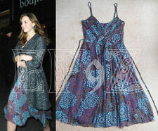 RARE KOOKAI Multi Blu Viola Floreale in Chiffon di seta con spalline Party Dress 12 14 42