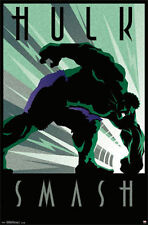 THE INCREDIBLE HULK RETRO ART DECO POSTER (61x91cm) NEW LICENSED