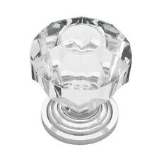 "P30122-CHC  1 1/4"" Clear Acrylic Polished Chrome Knob Drawer Pull"