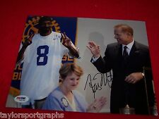 LSU TIGERS COACH LES MILES Signed 8X10 WITH SNOOP DOG PSA CERTIFIED COA TICKET