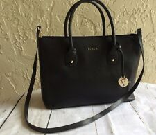 NWT Furla Onyx Black Pebbled Leather Large Retail $378 Made in Italy