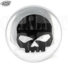 Chrome Skull Horn Cover with Black Mesh Skull Horn for Harley Horn Cover 1991-17