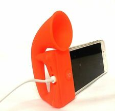 ORANGE Portable Silicon Horn Amplifier Loud Speaker Desk Stand Apple iPhone 5 5S