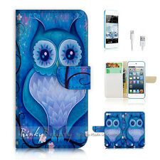 iPod Touch iTouch 5 Print Flip Wallet Case Cover! Blue Owl Art P0135