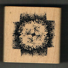GRUNGE TYPE WOOD MOUNTED RUBBER STAMP. APPROX 5 cm x 5 cm