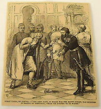 1881 magazine engraving ~ OSMAN PASHA of PLEVNA chokes on drink