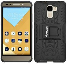AMZER Dual Layer Hybrid Warrior Case Cover With Stand For Huawei Honor 7 - Black