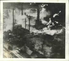 1943 Press Photo Ploesti Oil Field in Rumania in Flames after being hit by Bombs