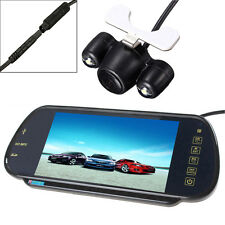 "7"" MP5 Bluetooth Car Rearview Mirror Monitor+ 2 LEDs Night Vision Reverse Camera"