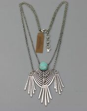 lucky brand jewelry antique silver plated tassel turquoise necklace peandant NWT