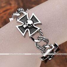 1pc Metal Biker Cross Enamel Skull Mens Link Chain Bracelet Bangle Wristband New