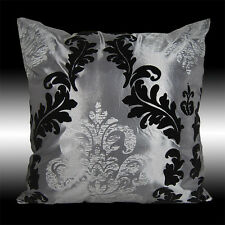 GRAY TAFFETA BLACK FLOCK SILVER DAMASK DECO THROW PILLOW CASE CUSHION COVER 17""