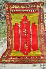 1900-1939s Antique  Wool Pile Multi-Colored Rug-5'4''x10ft Tribal Rug