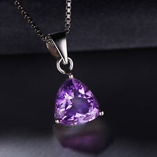 1.6ct Natural Trillion Amethyst Pendant 925 Silver+chain special occasion ladies