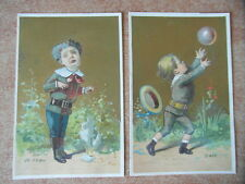 2 x CHROMO BON-POINT ECOLE IMAGE SCOLAIRE LES ELEMENTS L AIR & LE FEU v. 1890