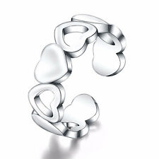 925 Silver Plated Alternate Hearts Ring  / Thumb Ring  Adjustable - ladies gift