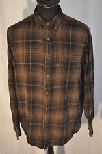 Vintage Faded Glory green check flannel western shirt size medium cowboy