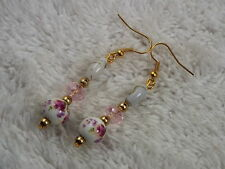 Goldtone Crystal White Glass Purple Flower Bead Pierced Earrings (D76)