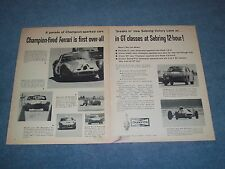 1963 Champion Spark Plugs Vintage 2pg Ad 12-Hours of Sebring Ferrari Fiat-Abarth