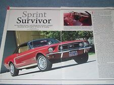 "1968 Mustang Coupe B Hardtop Article ""Sprint Survivor"""