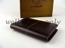 new J.Fold brown leather Mini Case card holder mens Minimalist Wallet NIB gift