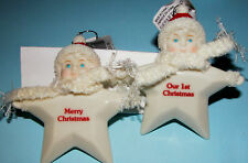 Dept 56 Snowbabies ornament stars Our First Christmas & Merry Christmas 2 pc set