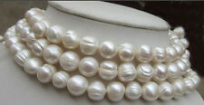 Natural Huge 10-11mm White south sea Baroque Pearl Necklace 50""