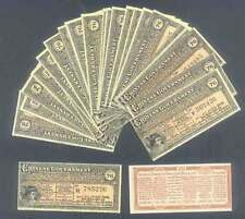 TEN (10) CHINA BOND COUPONS 1913 GOLD LOAN in GERMAN ENGLISH FRENCH RUSSIAN UNC