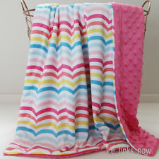 70x100cm Large Baby Minky Blanket Stroller  Cot Shower Gift Wavy Rainbow Pink