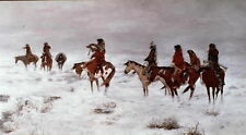 Handmade Oil Painting repro Charles M. Russell Lost in Snow Storm