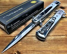 "8.75"" Italian Milano Stiletto Damascus Spring Assisted Open Pocket Knife - Chrom"