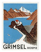 Hotel GRIMSEL Hospiz Switzerland Schweiz luggage label Kofferaufkleber