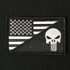 PUNISHER SKULL USA AMERICAN FLAG ARMY MORALE BLACK OPS SWAT HOOK PATCH