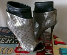 Giuseppe Zanotti metallic peep toe sock ankle peep toe boots 37.5 UK 4 1/2 vgc
