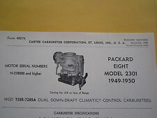 1949, 1950 PACKARD EIGHT 2301, CARTER CARBURETOR SPEC INFO SHEET