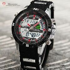 SHARK LCD DIGITAL CHRONOGRAPH DATE DAY ALARM RED MEN QUARTZ SPORT WATCH