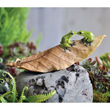 Miniature Dollhouse FAIRY GARDEN ~ Frogs On Fallen Leaf ~ NEW