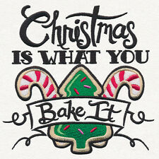 christmas is what you bake it SET OF 2 BATH HAND TOWELS EMBROIDERED BY LAURA